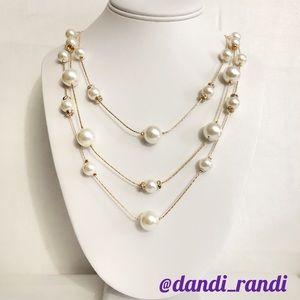 Monet Pearl Tower Layered Necklace NWT